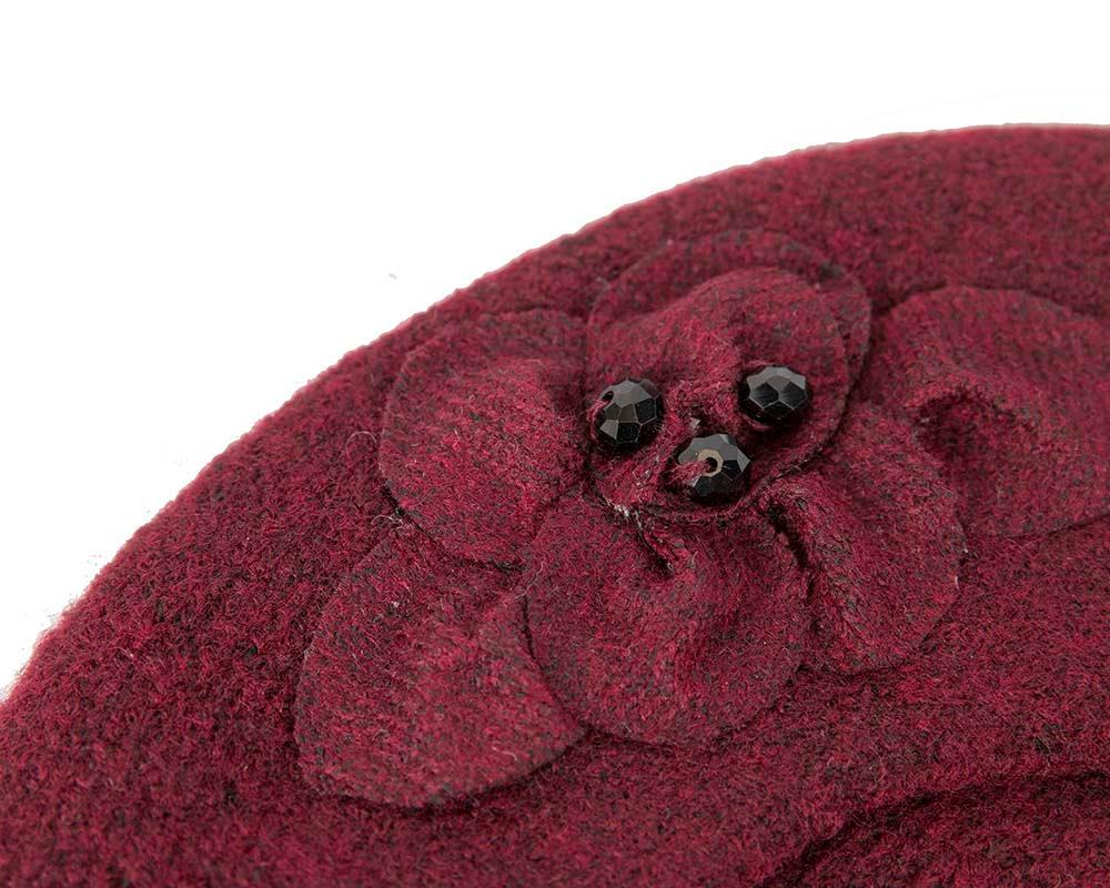 European made woven burgundy wine beret