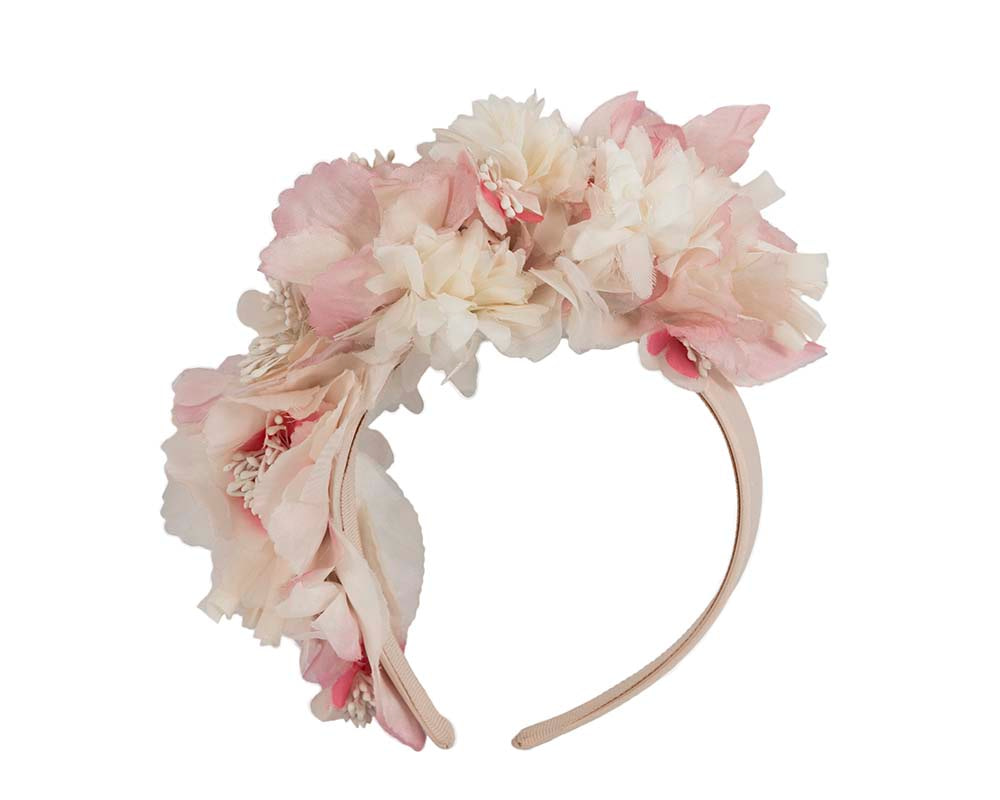 Bespoke pink silk flower headband fascinator