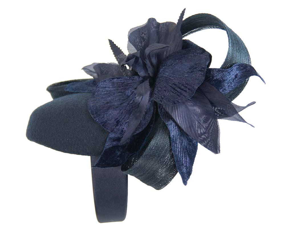 Tall navy winter racing pillbox fascinator by Fillies Collection