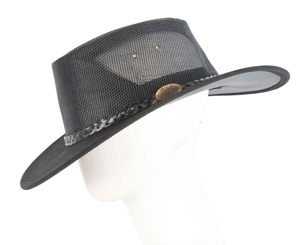 Black Australian Suede Leather Cooler Jacaru Hat