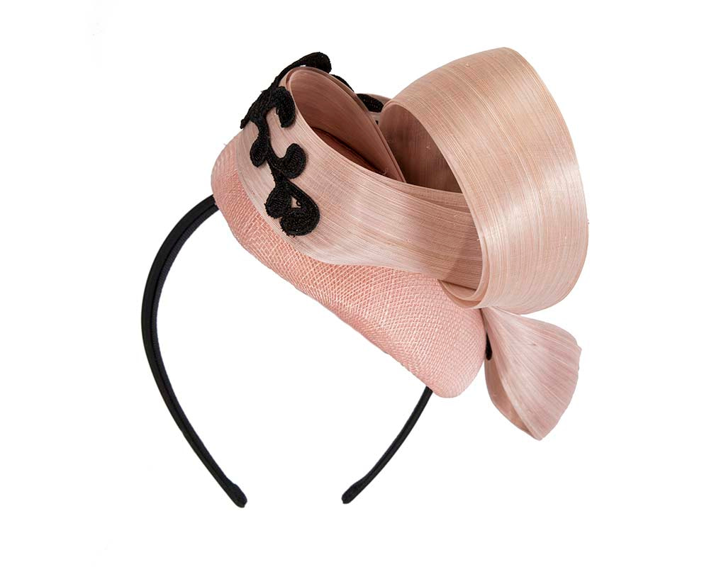 Stunning blush pillbox fascinator with lace by Fillies Collection
