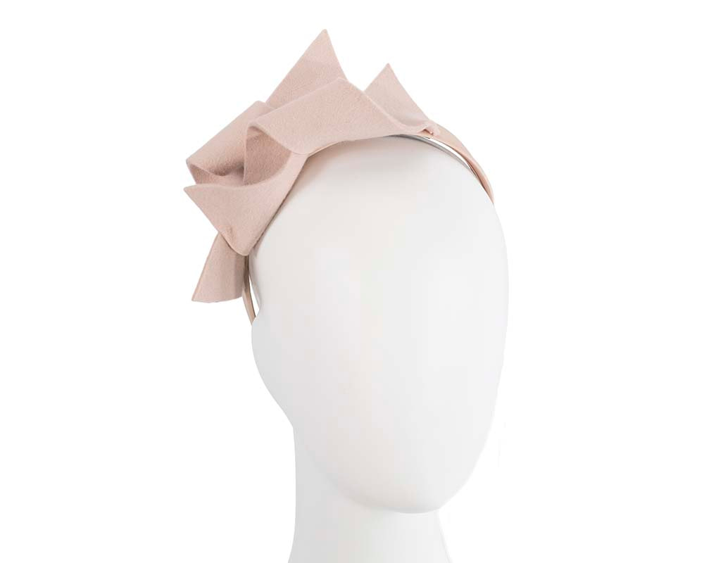 Beige felt twisted fascinator headband by Max Alexander