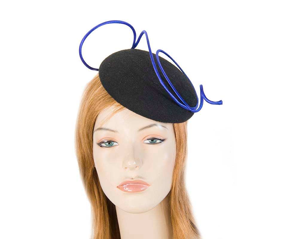 Black felt fascinator hat with blue wire work