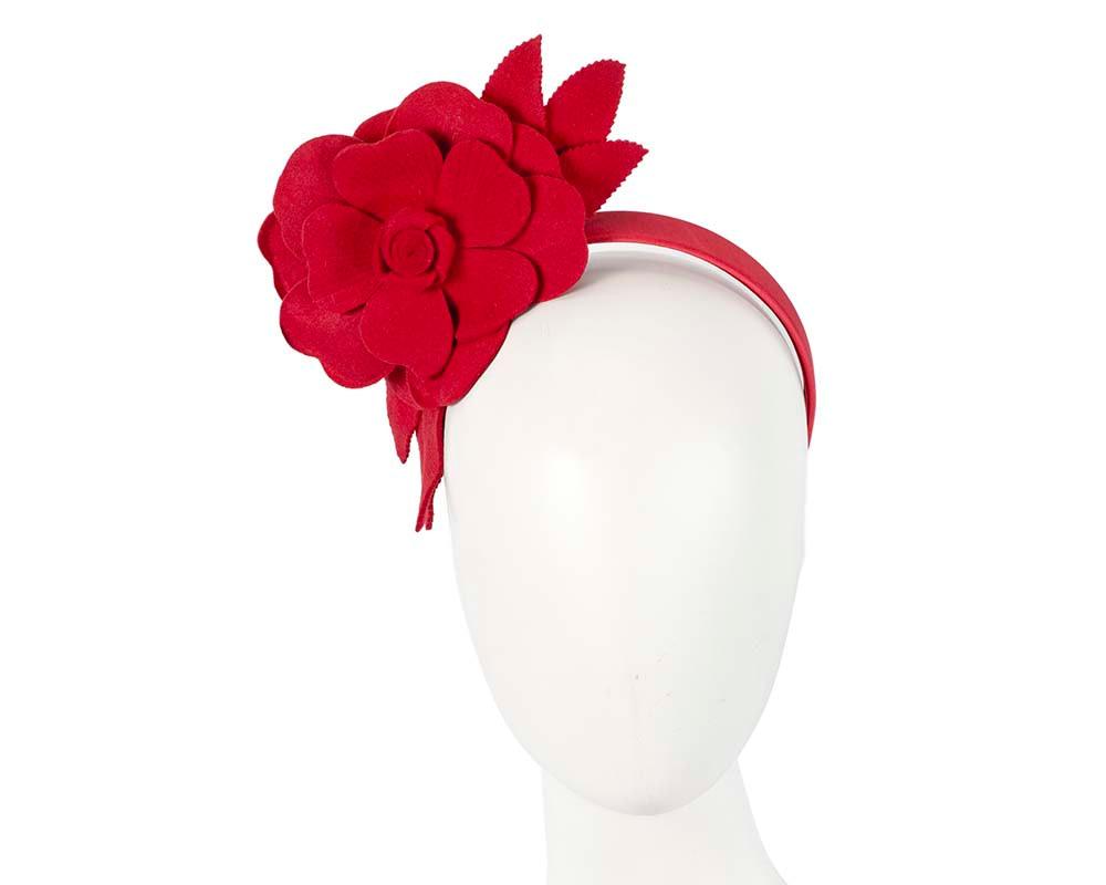 Red felt flower fascinator by Max Alexander
