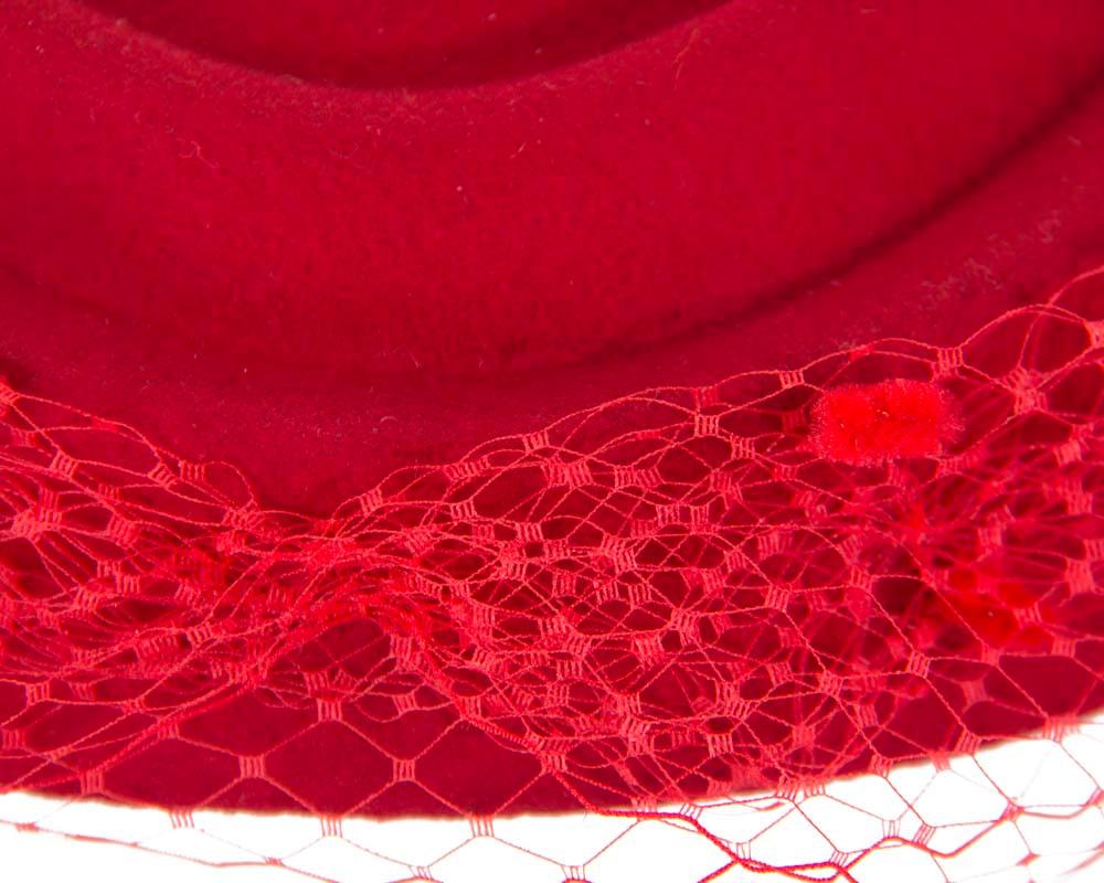 Large red felt beret hat