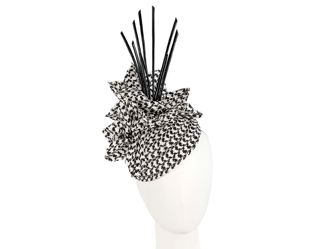 Bespoke White & Black fascinator by Cupids Millinery Melbourne