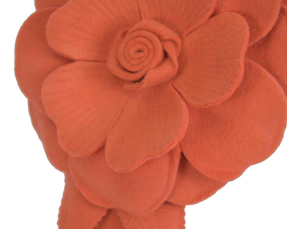Burnt orange felt flower fascinator by Max Alexander