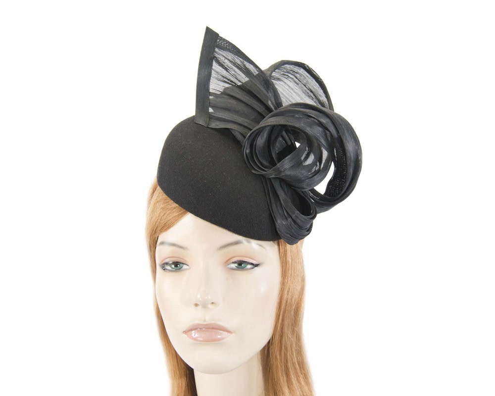 Black winter pillbox with silk abaca trim