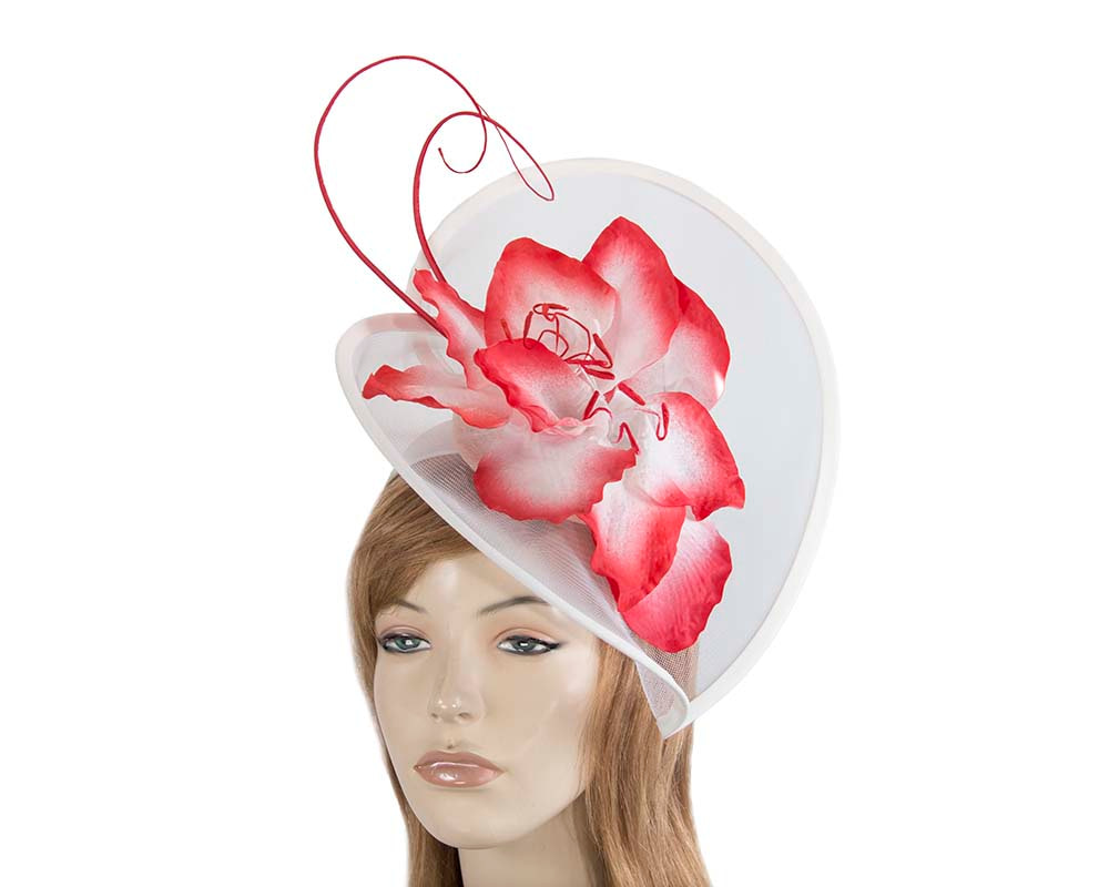 Large white & red flower heart fascinator