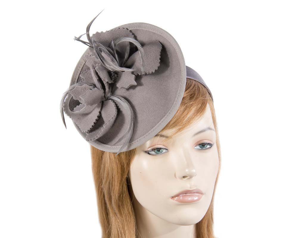 Grey winter felt fascinator for racing buy online in Aus J292G
