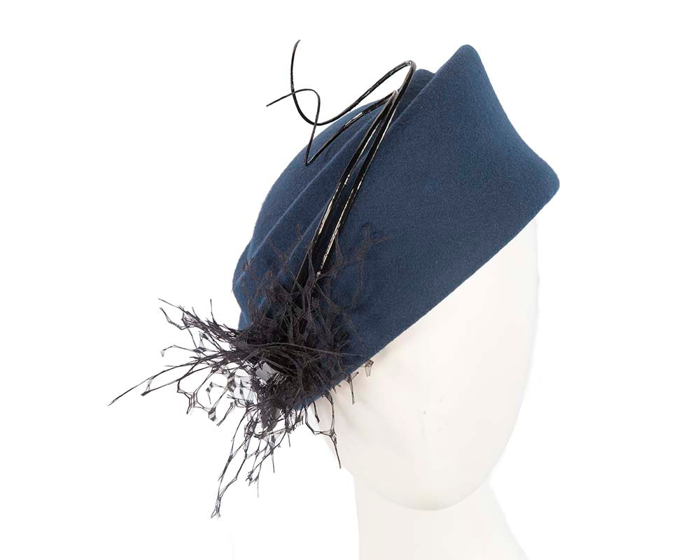 Large navy winter felt pillbox hat for races F572N