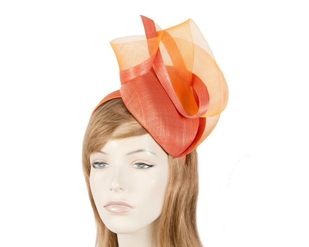 Tall orange pillbox fascinator