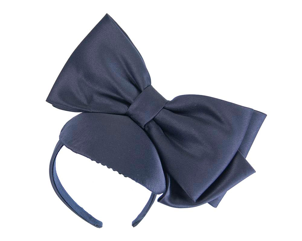 Navy satin fascinator with big bow by Max Alexander
