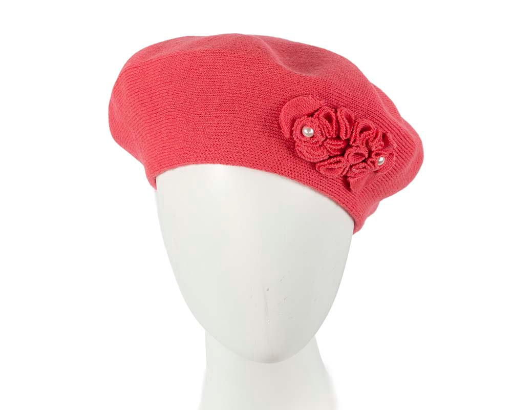 Warm woven coral beret by Max Alexander