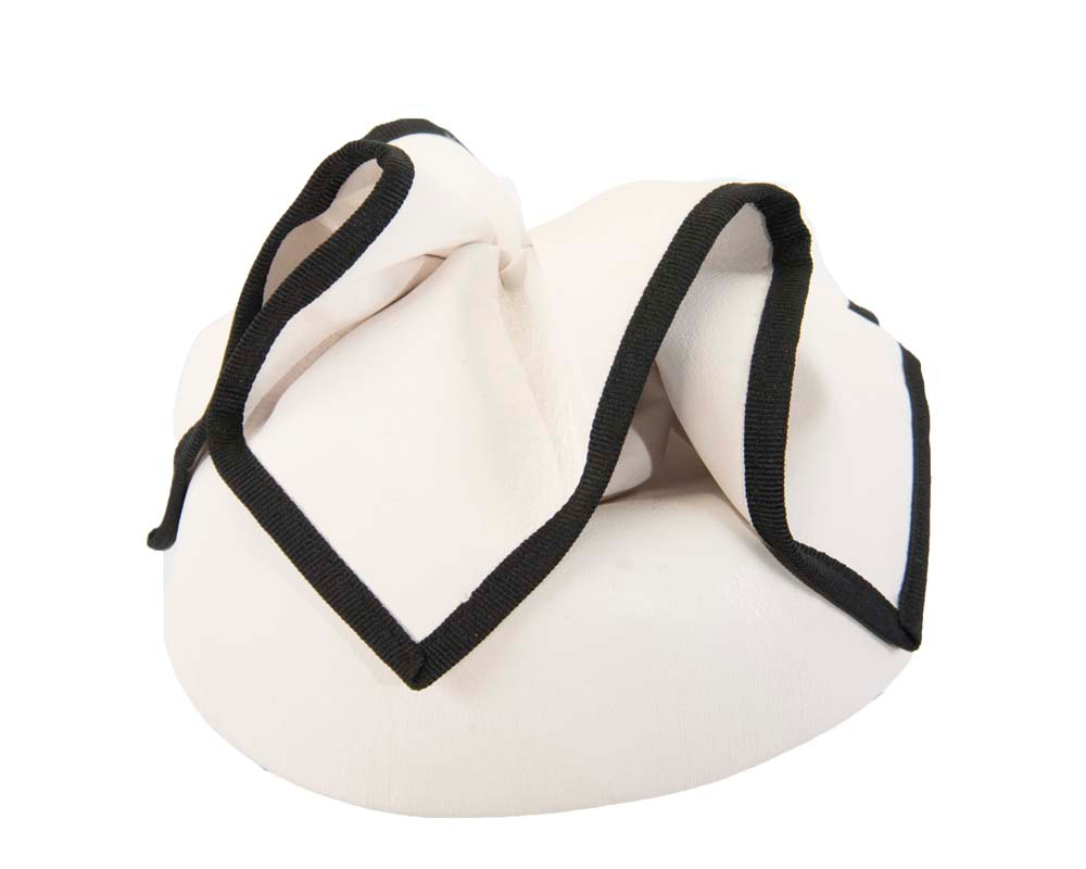 White & black leather racing pillbox fascinator