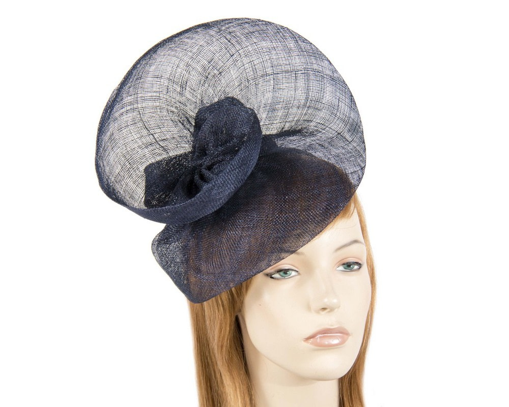 Large navy sinamay fascinator