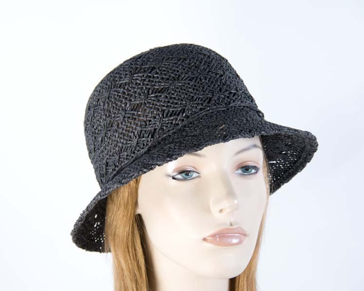 Crocheted black cloche hat