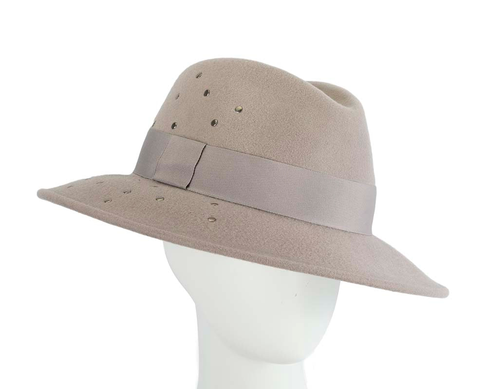 Exclusive wide brim grey fedora felt hat by Max Alexander
