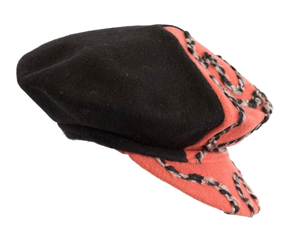 Black & orange winter newsboy cap by Max Alexander