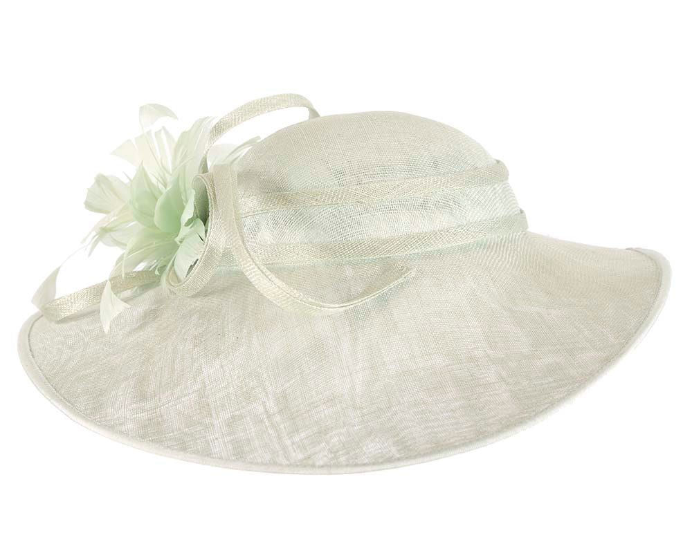 One off large light green racing hat by Cupids Millinery