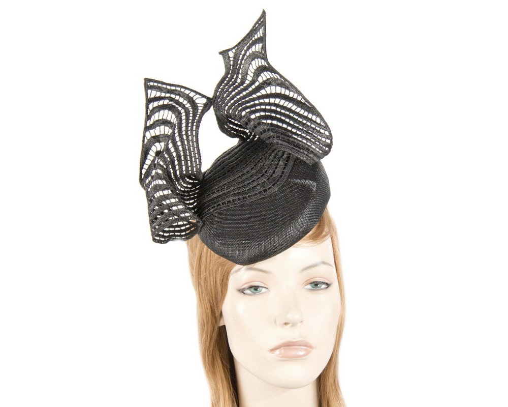Black pillbox with tall lace trim by Fillies Collection