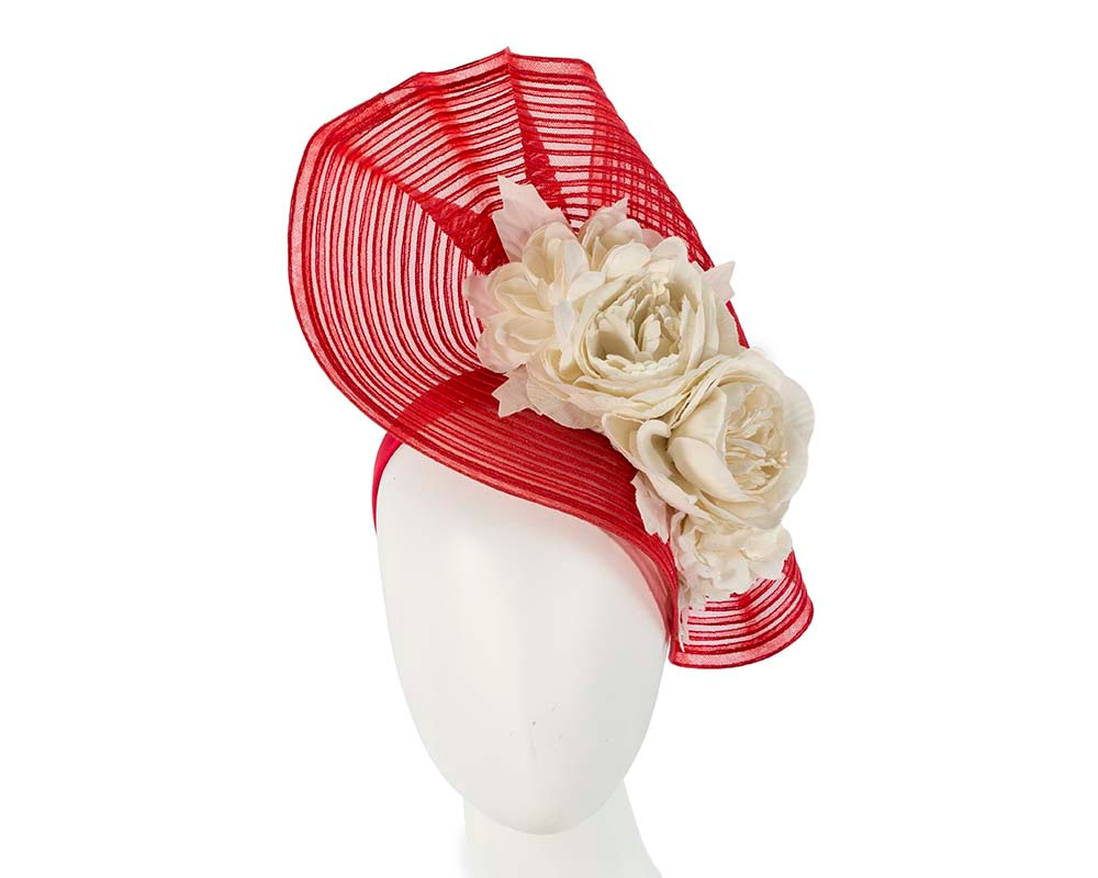 Large red & cream racing fascinator with flowers by Fillies Collection