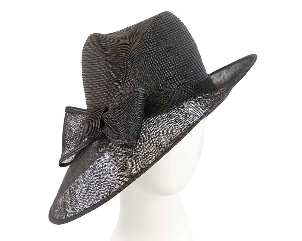 Asymmetric Black racing hat with bow by Cupids Millinery