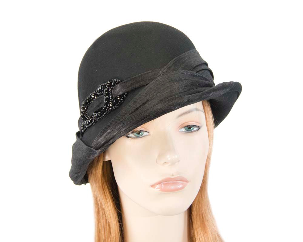 Black felt draped cloche hat