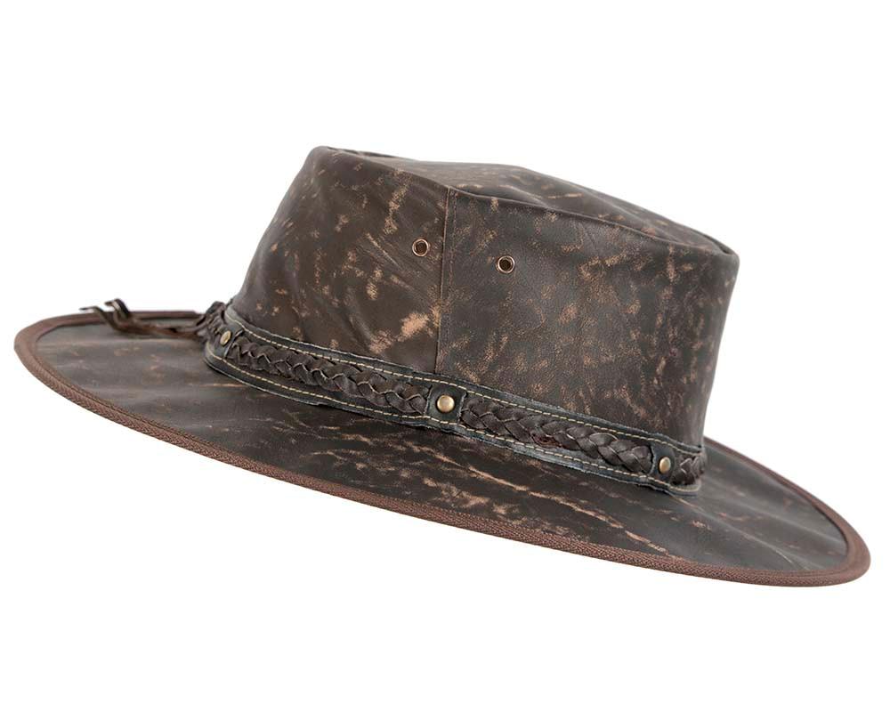 Brown Australian Kangaroo Leather Crushable Outback Jacaru Hat