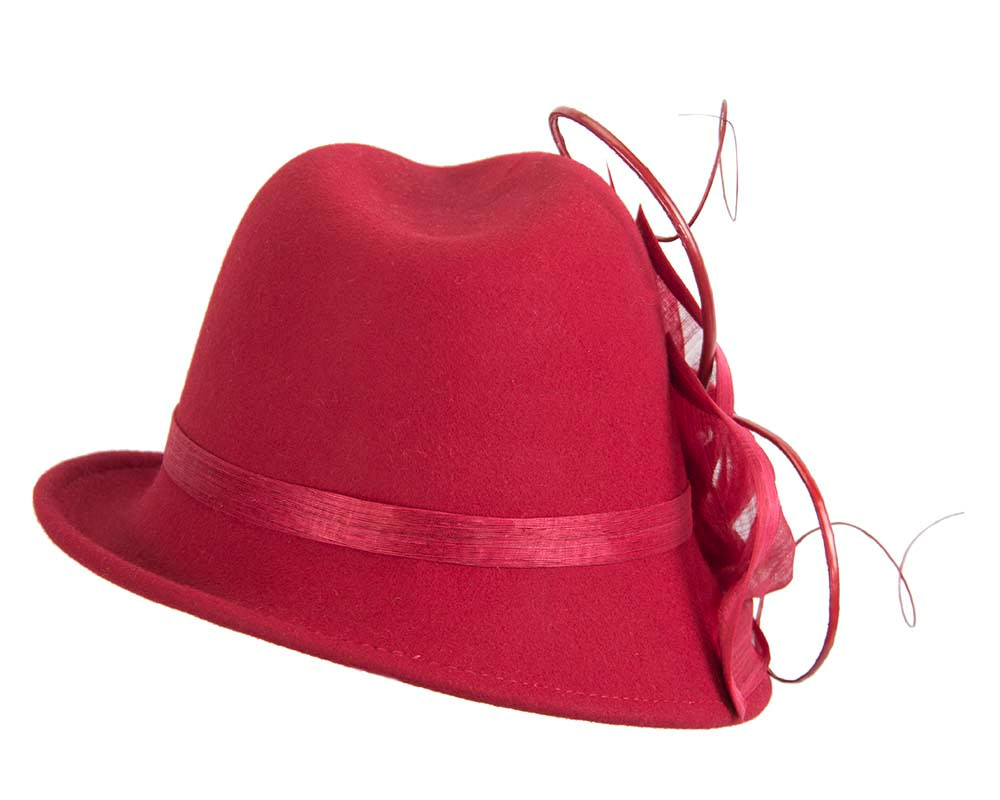 Red fashion trilby hat by Fillies Collection
