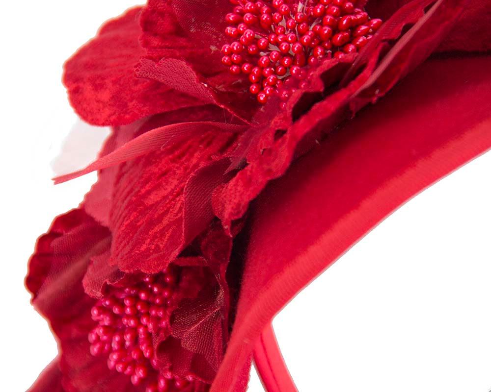 Large red felt flower fascinator F591R