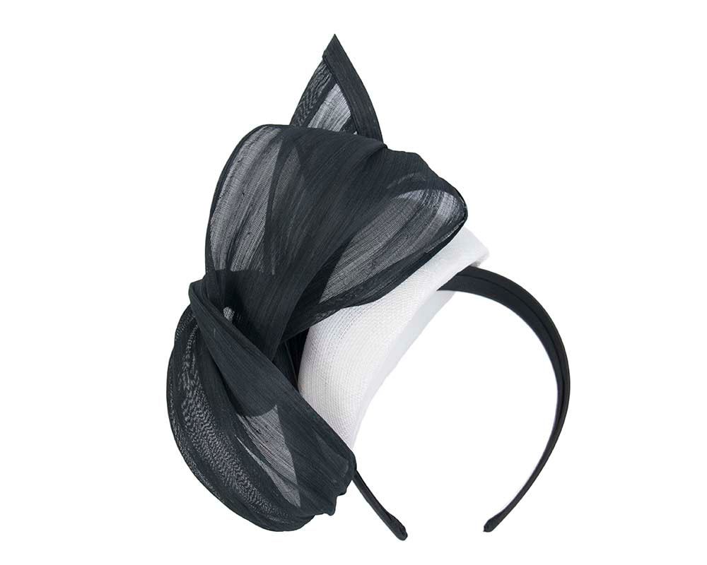 Elegant white & black pillbox racing fascinator by Fillies Collection