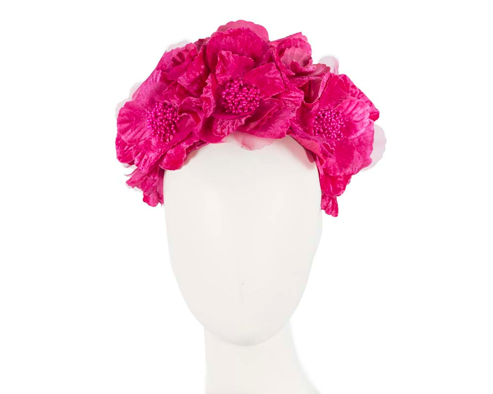 Bright Fuchsia flower halo fascinator