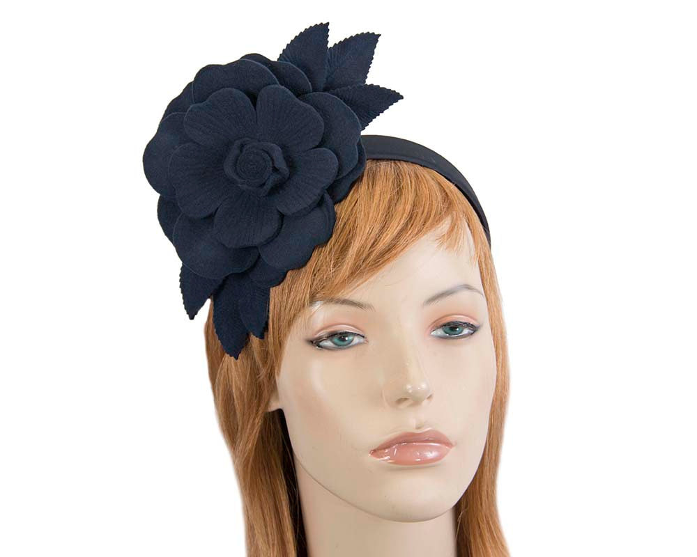 Navy felt flower fascinator by Max Alexander