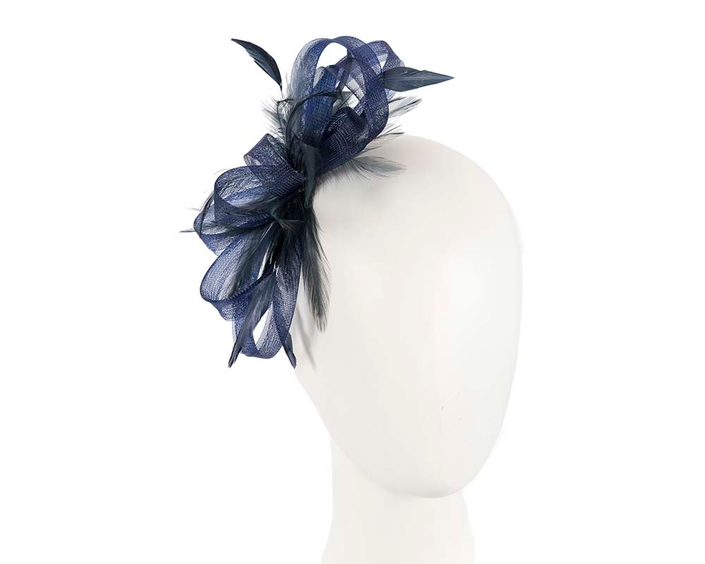 Custom made navy fascinator by Cupids Millinery