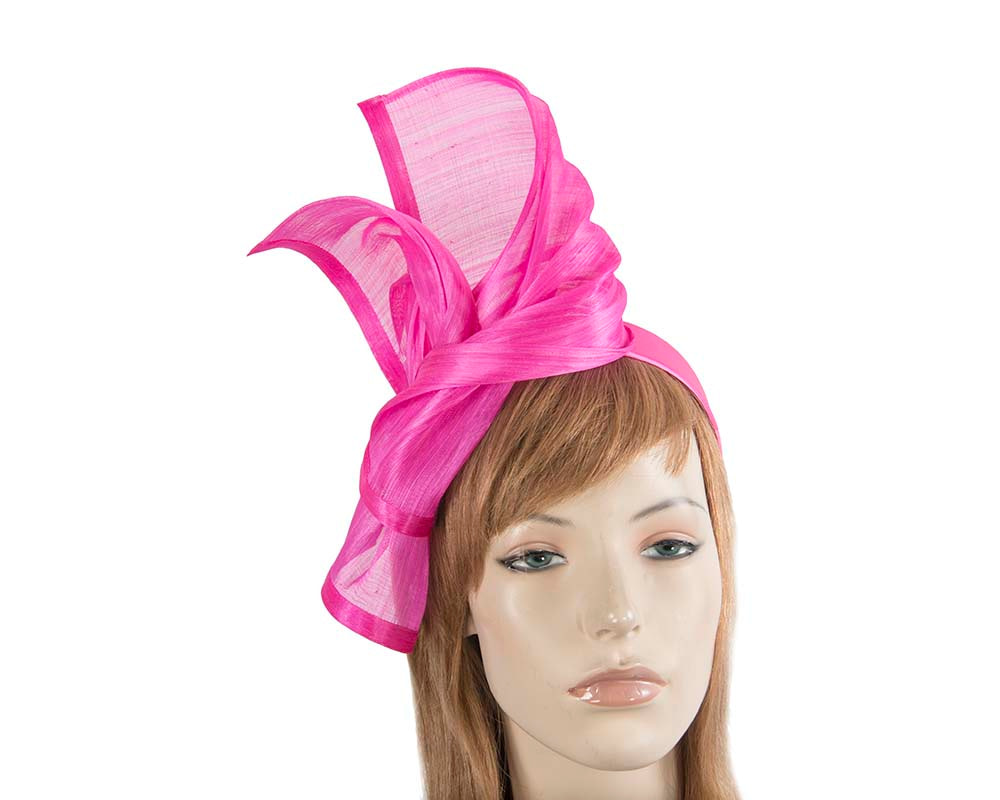 Bespoke hot pink silk abaca racing fascinator by Fillies Collection