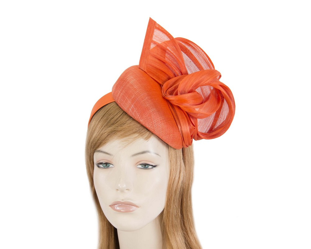 Elegant orange pillbox racing fascinator by Fillies Collection
