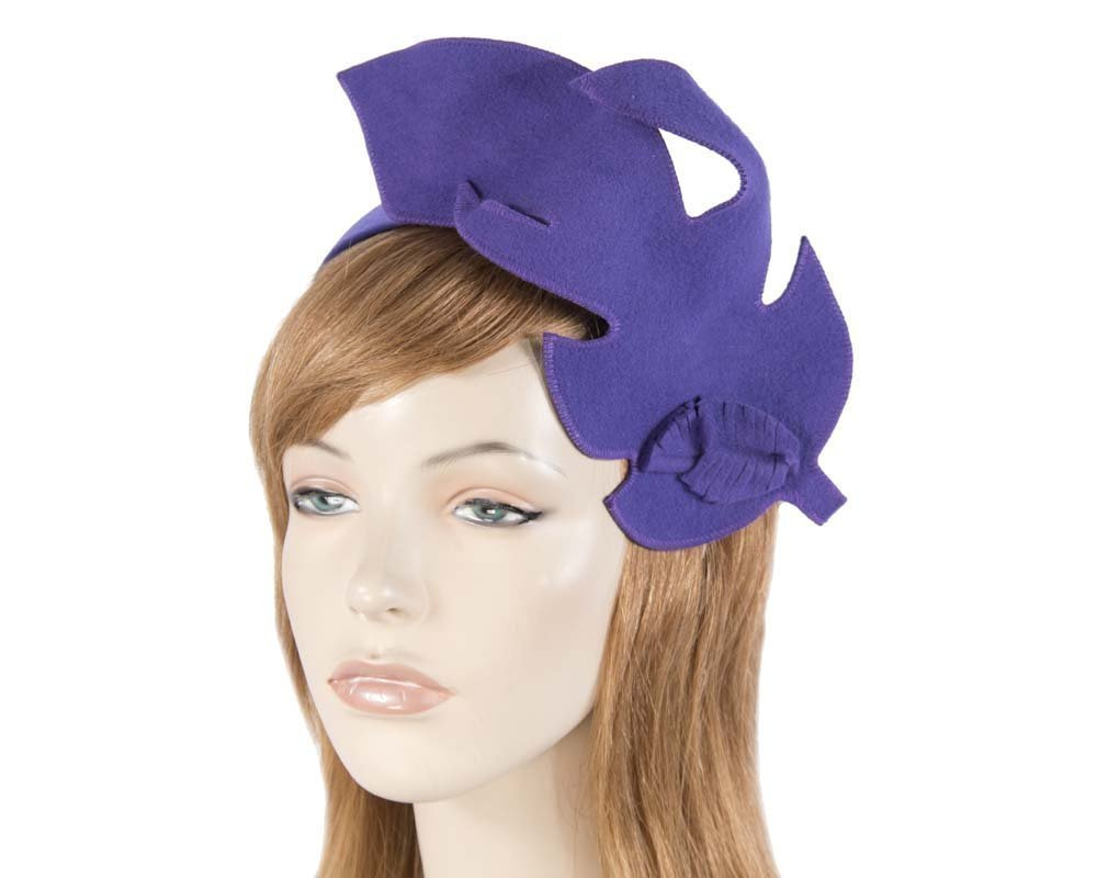 Unusual purple felt Max Alexander fascinator for races buy online in Australia J293P