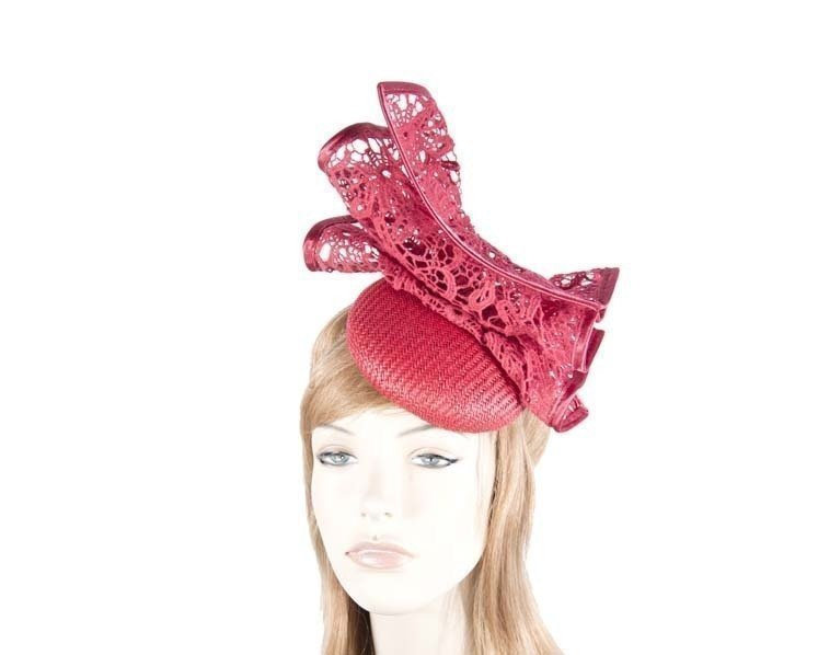Red pillbox with lace for Melbourne Cup races by Fillies Collection S166R