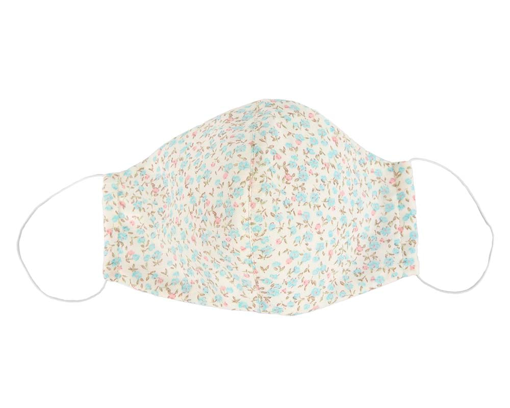Comfortable re-usable white cotton face mask with flowers