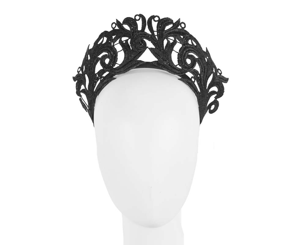Modern black crown racing fascinator by Max Alexander