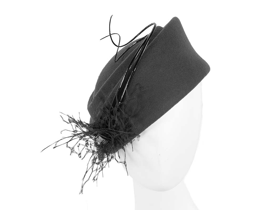 Large black winter felt pillbox hat for races buy online in Australia F572B