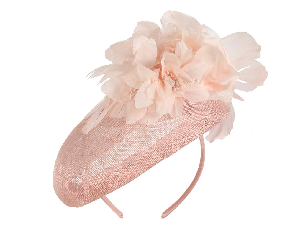 Large pink pillbox with flower by Cupids Millinery
