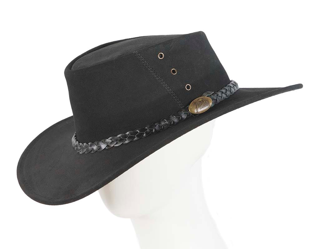 Black Australian Leather Bush Outback Jacaru Hat