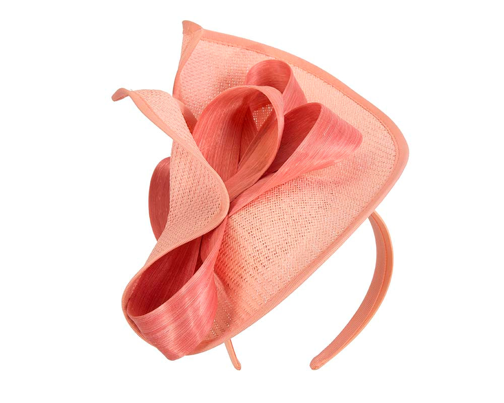 Large coral Fillies Collection racing fascinator with bow
