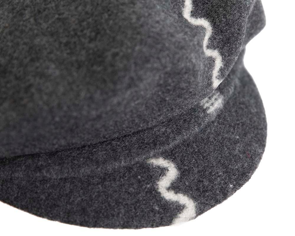 Grey winter newsboy cap by Max Alexander