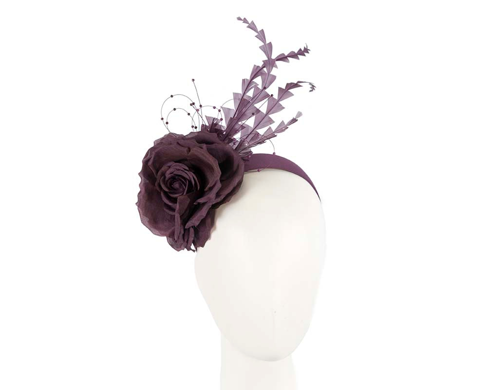 Purple flower feather fascinator