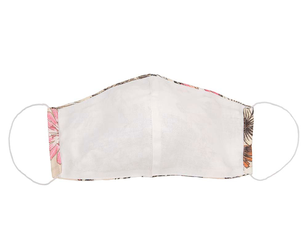 Comfortable re-usable ivory face mask with flower pattern