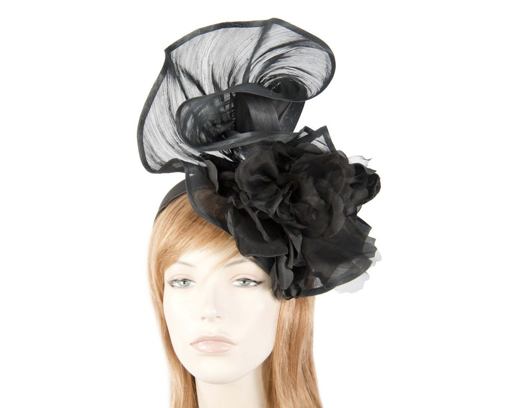 Bespoke large black fascinator