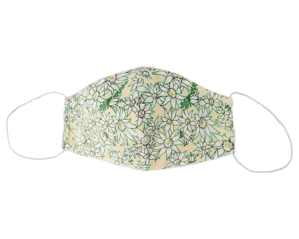 Comfortable re-usable cotton face mask green flowers